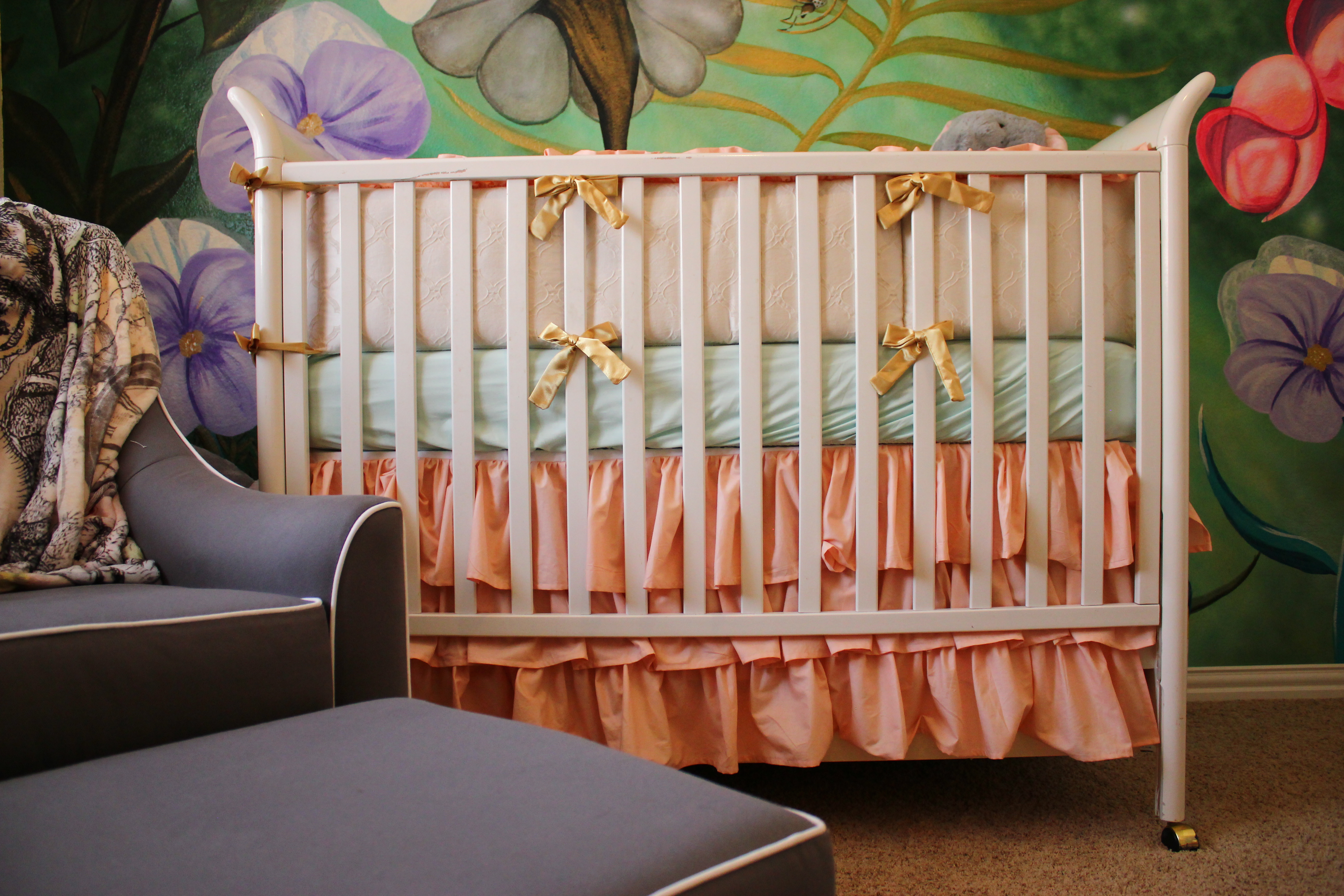 Alice in wonderland nursery kayliejay designs this beautiful mural on her crib wall these oversized flowers and details like the rockinghorse fly make you feel like youre a part of alices garden amipublicfo Images